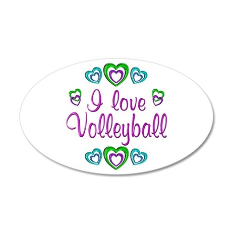 I Love Volleyball 38.5 x 24.5 Oval Wall Peel