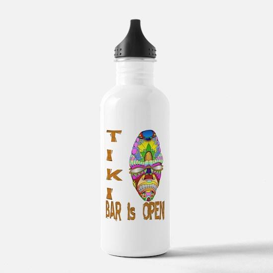 Tiki Bar is Open Mask Water Bottle