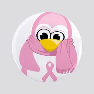 """Breast Cancer Pink Penguin 3.5"""" Button"""