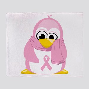 Breast Cancer Pink Penguin Throw Blanket