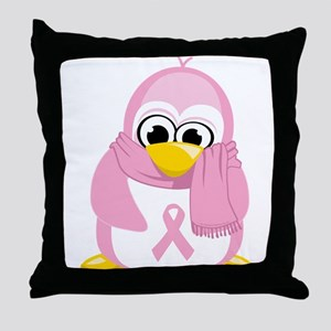 Breast Cancer Pink Penguin Throw Pillow