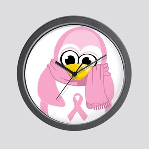 Breast Cancer Pink Penguin Wall Clock