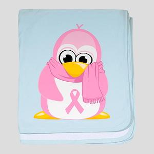 Breast Cancer Pink Penguin baby blanket