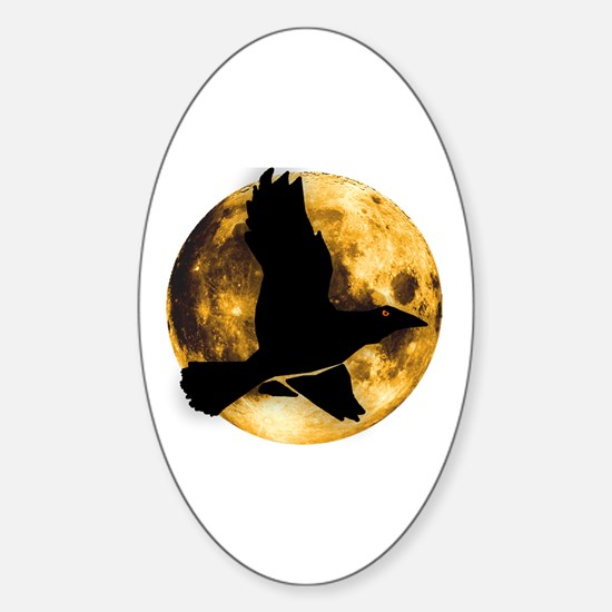 Full Moon with Raven Sticker (Oval)