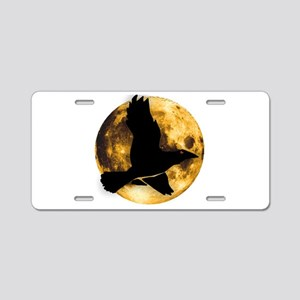 Full Moon with Raven Aluminum License Plate
