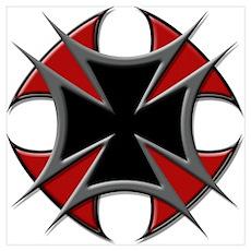 Double Maltese Biker Cross Poster