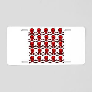 Red Skulls and Crossbones Aluminum License Plate