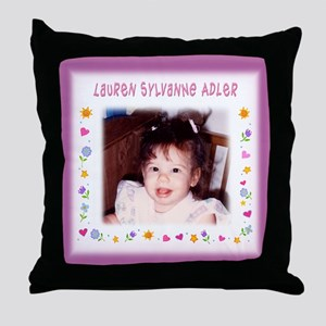Pink Hearts Personalized Throw Pillow - Custom