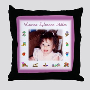Pink w/Toys Personalized Throw Pillow - Custom