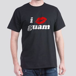 I Love Kiss Guam Heart Dark T-Shirt