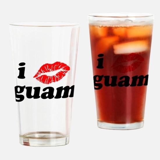 I Love Kiss Guam Heart Drinking Glass
