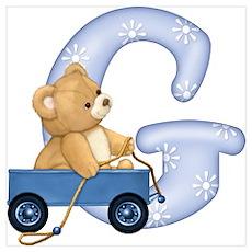 Teddy Alphabet G Blue Poster