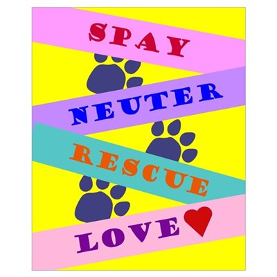 Spay, Neuter, Rescue, Love Poster