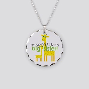 Big Sister To Be Giraffes Necklace Circle Charm