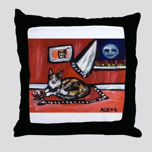 TORTOISE SHELL cat senses smi Throw Pillow