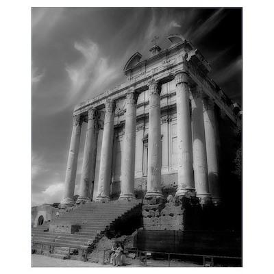 Roman Forum Black and White Poster