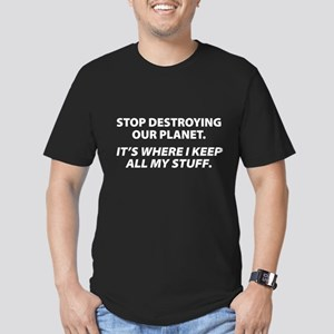 Stop destroying our Planet Men's Fitted T-Shirt (d
