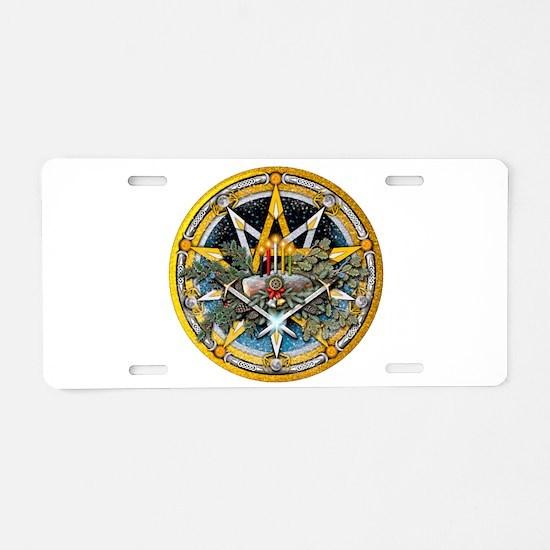 Yule Pentacle Aluminum License Plate