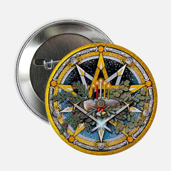 "Yule Pentacle 2.25"" Button"