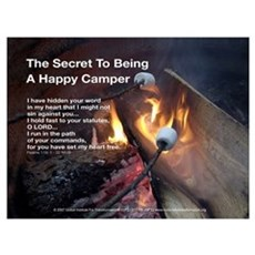 The Secret To Being A Happy Camper - Framed Poster