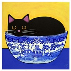 Black Cat In Blue Willow Bowl Print Framed Print