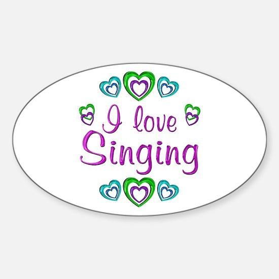 I Love Singing Sticker (Oval)