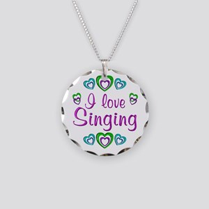 I Love Singing Necklace Circle Charm