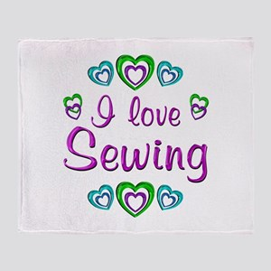 I Love Sewing Throw Blanket