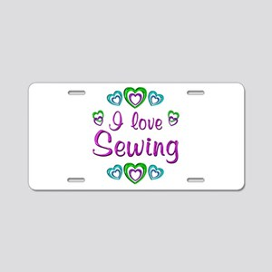 I Love Sewing Aluminum License Plate