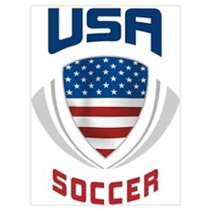 Soccer Crest USA blue Canvas Art