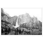 Yosemite Falls, in B&W, large poster.