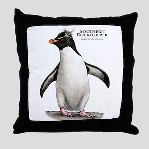 Southern Rockhopper Penguin Throw Pillow