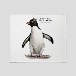 Southern Rockhopper Penguin Throw Blanket