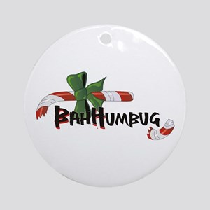 Bah Humbug! Broken Candy Cane Ornament (Round)