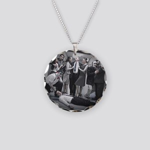Red Scare Group Shot Necklace Circle Charm