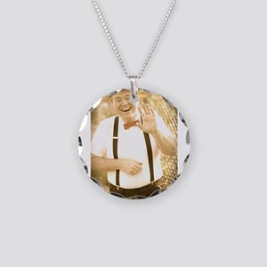 Happy Charlie Waving Necklace Circle Charm