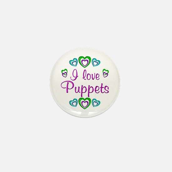 I Love Puppets Mini Button