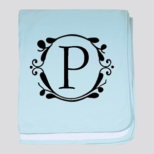 INITIAL P MONOGRAM baby blanket
