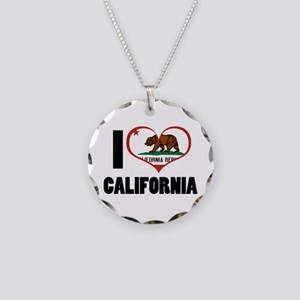 I Love California Necklace Circle Charm