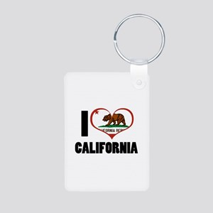 I Love California Aluminum Photo Keychain