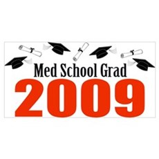 Med School Grad 2009 (Red Caps And Diplomas) Large Poster