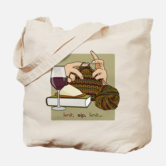 Knit Sip Knit Tote Bag