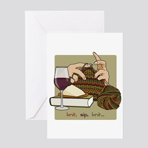 Knit Sip Knit Greeting Card (single)