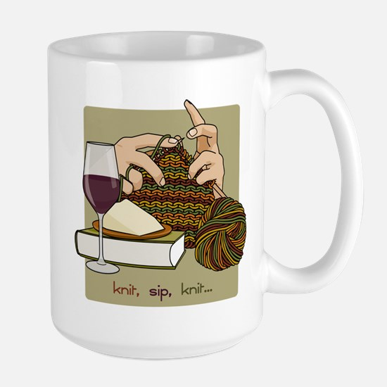 Knit Sip Knit Large Mug