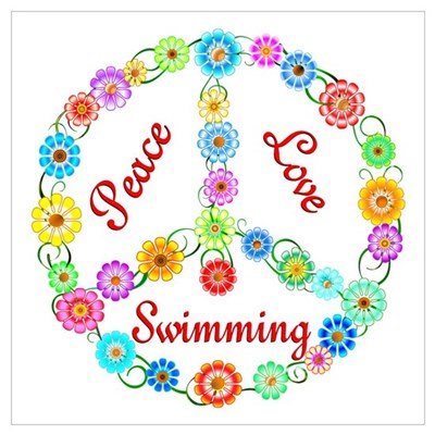 Swimming Peace Sign Poster