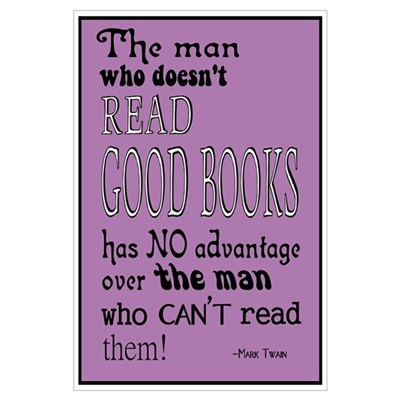 Twain Good Books Purple Canvas Art