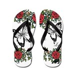 Love Butterfly Roses Flip Flops