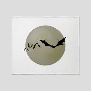 Moon Bats Throw Blanket
