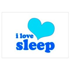 I Love Sleep (blue) Canvas Art