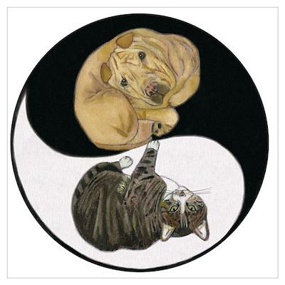 Tabby & Shar Pei Yin Yang Poster